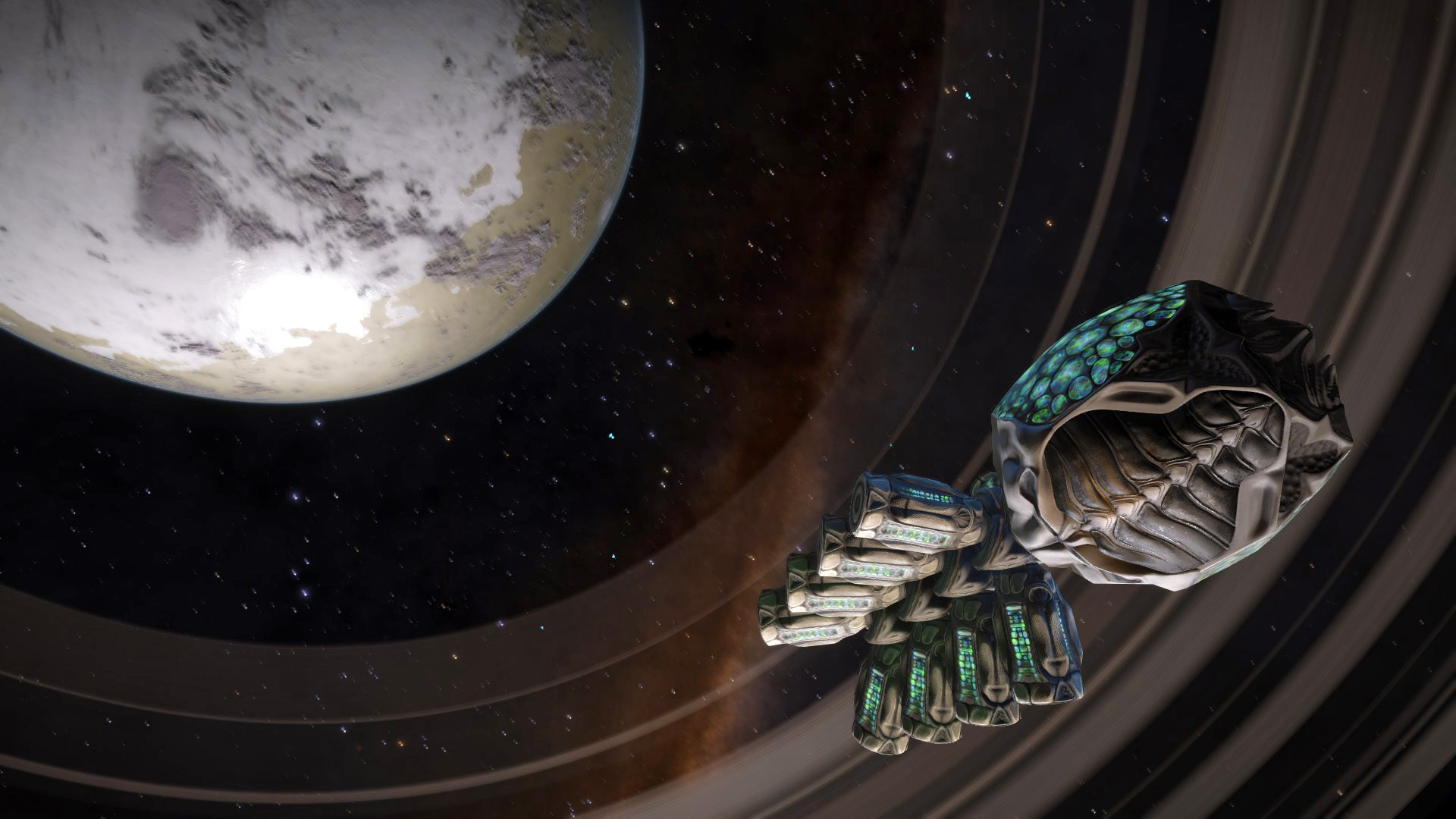 Elite: Dangerous screenshot: an unknown artefact in orbit of a ringed planet