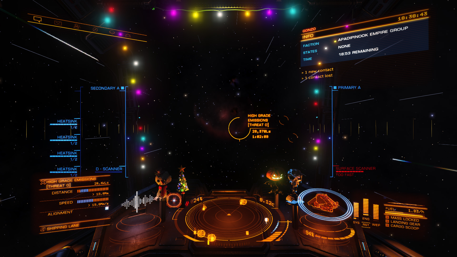 Elite: Dangerous beginner's guide: a screenshot of what a high grade emissions signal source looks like in supercruise