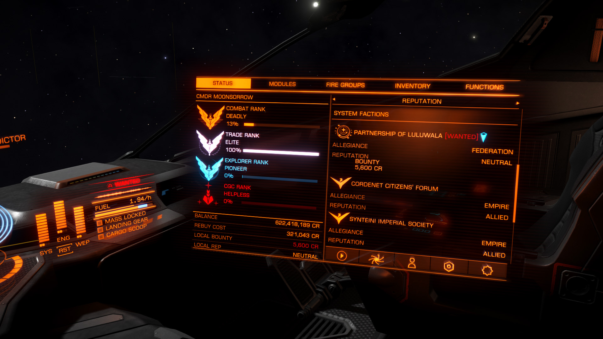 Elite: Dangerous beginner's guide: A screenshot showing where to find your wanted status for the current system