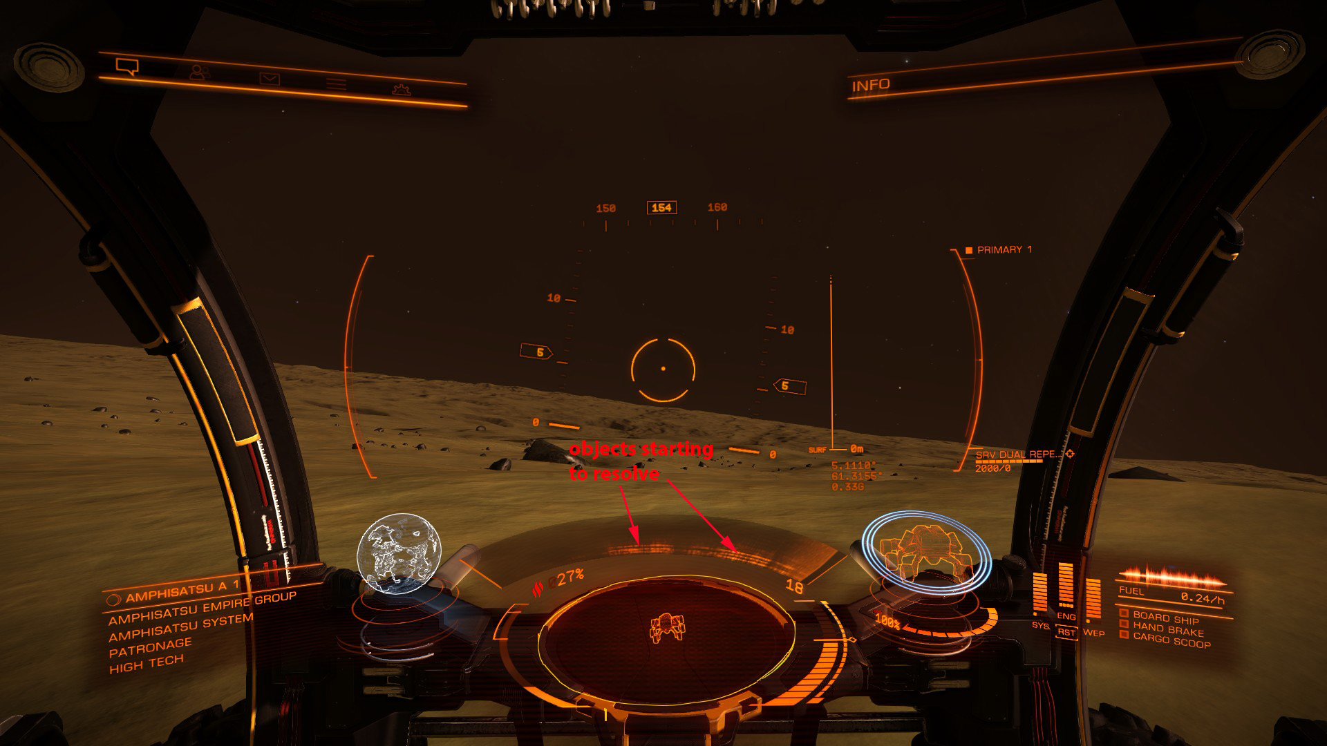 Elite: Dangerous beginner's guide: an annotated screenshot illustrating how to read the SRV wave scanner