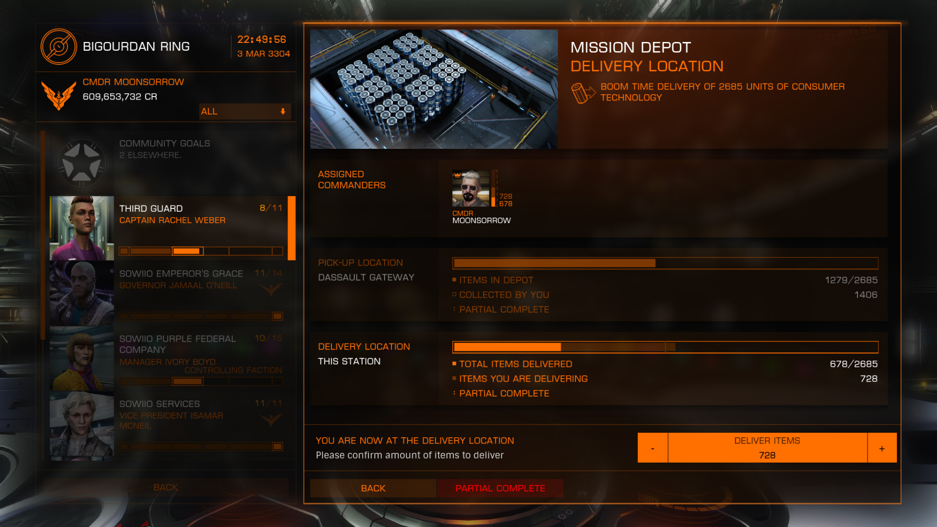 Elite: Dangerous beginner's guide: a screenshot of delivering cargo to wing mission depot