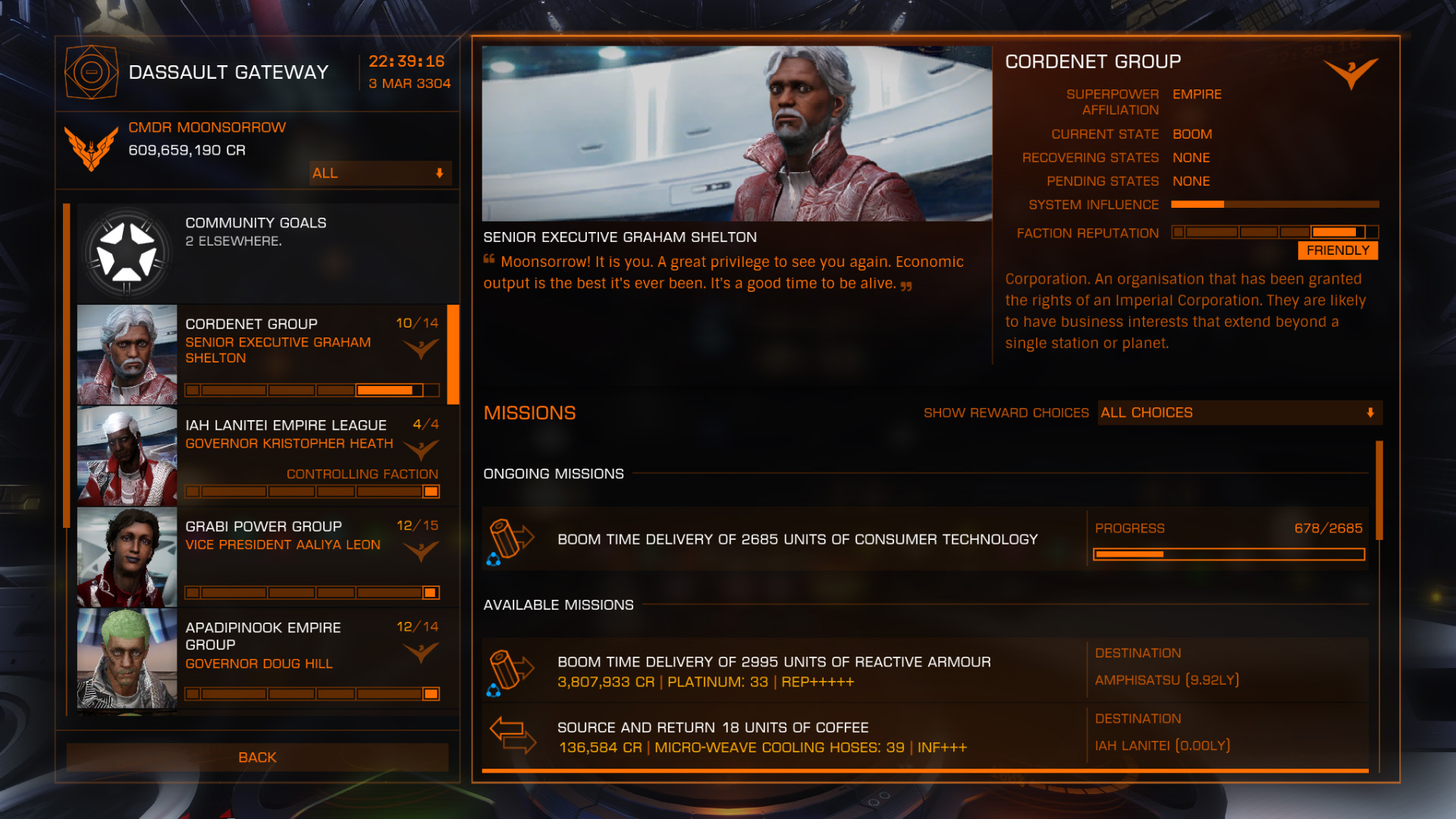 Elite: Dangerous beginner's guide: a screenshot showing an example of a wing mission.