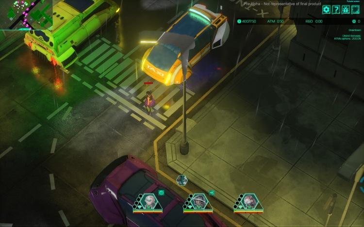 cyberpunk girl crosses road