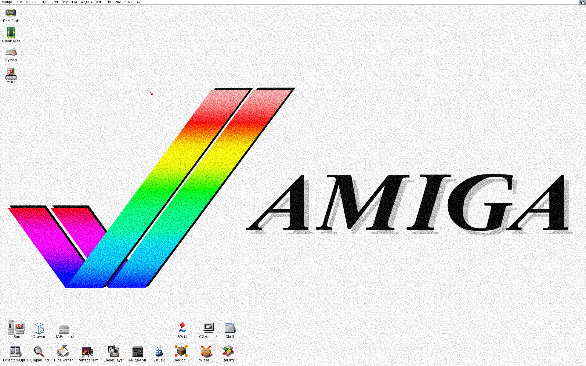 Amiga HD Workbench 3.1 desktop emulated on WinUAE
