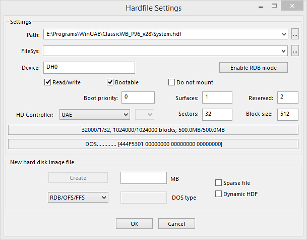 WinUAE GUI hardfile settings