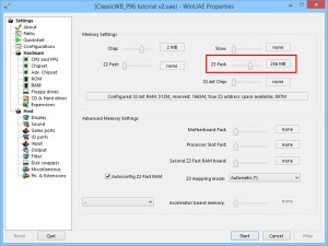 Increasing Z3 fast memory via the WinUAE GUI