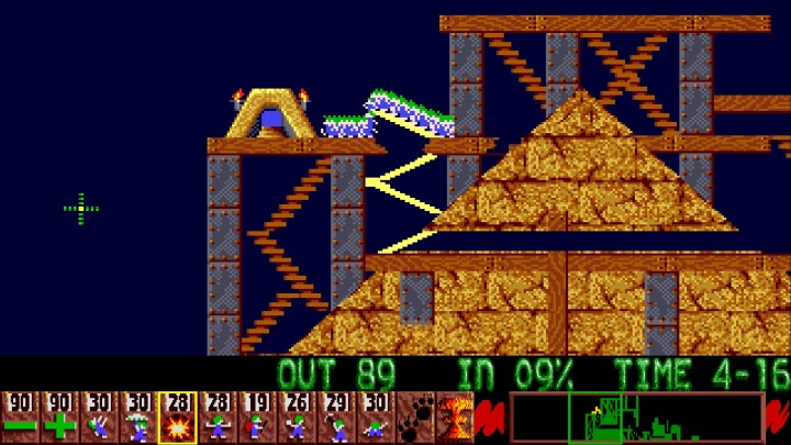 A screenshot from Lemmings