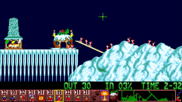 Gameplay sceenshot from level 10 of Holidays Lemmings 1993