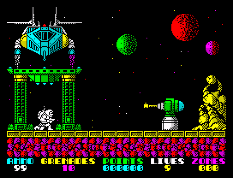Exolon for the ZX Spectrum running on Spectaculator