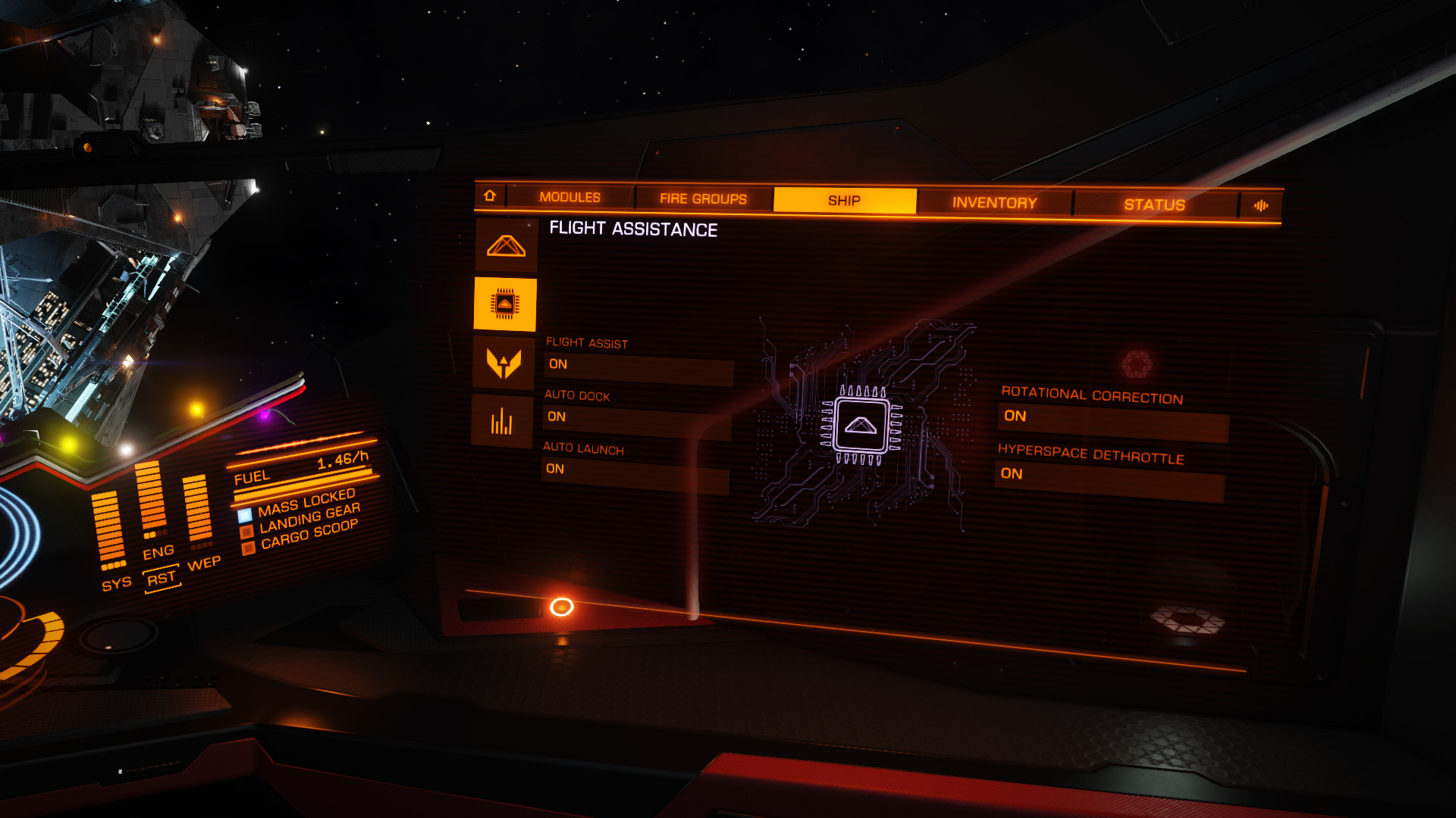 Elite: Dangerous beginner's guide: A screenshot showing the docking computer options