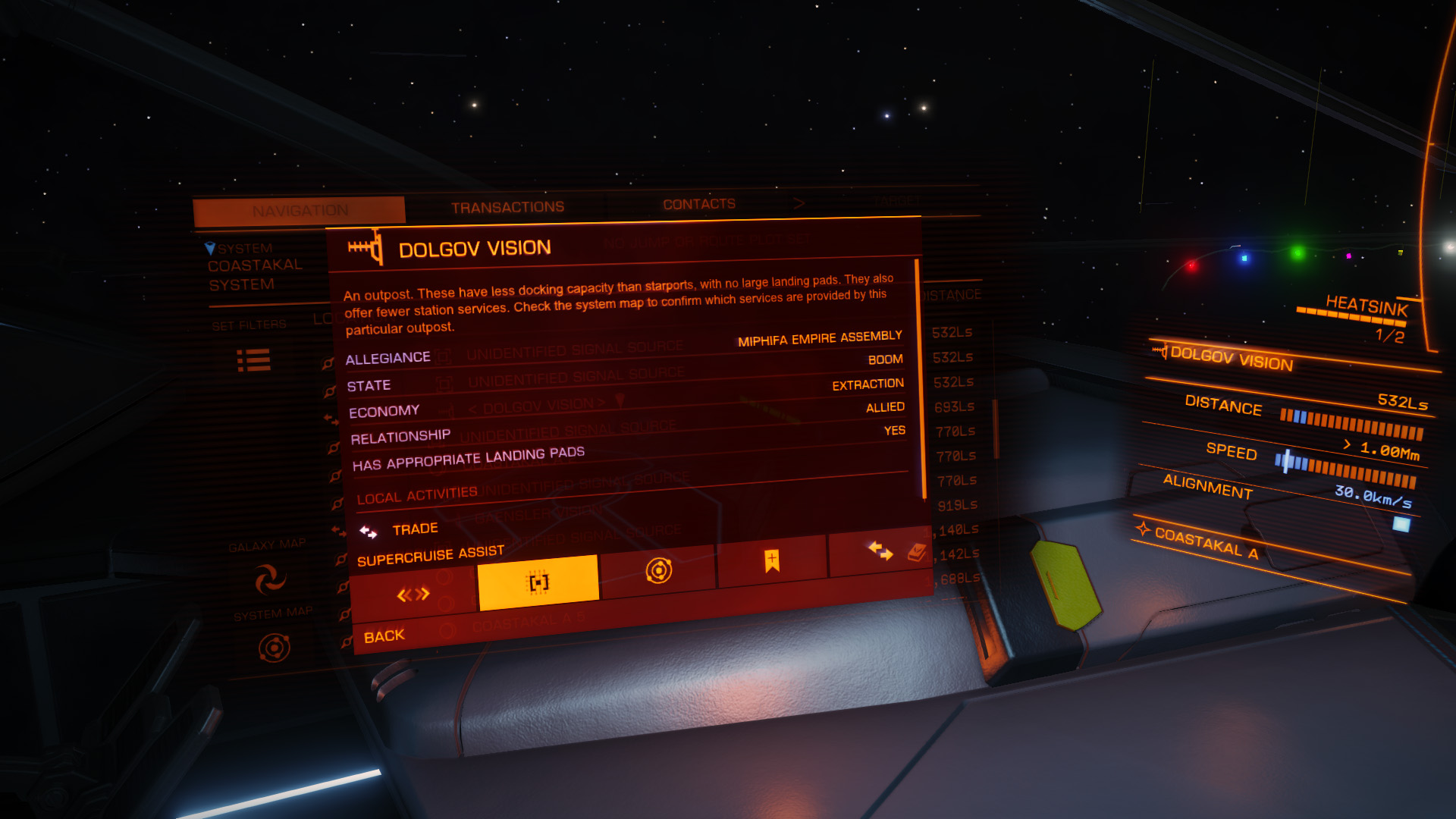 Elite: Dangerous beginner's guide: A screenshot showing where to activate supercruise assist