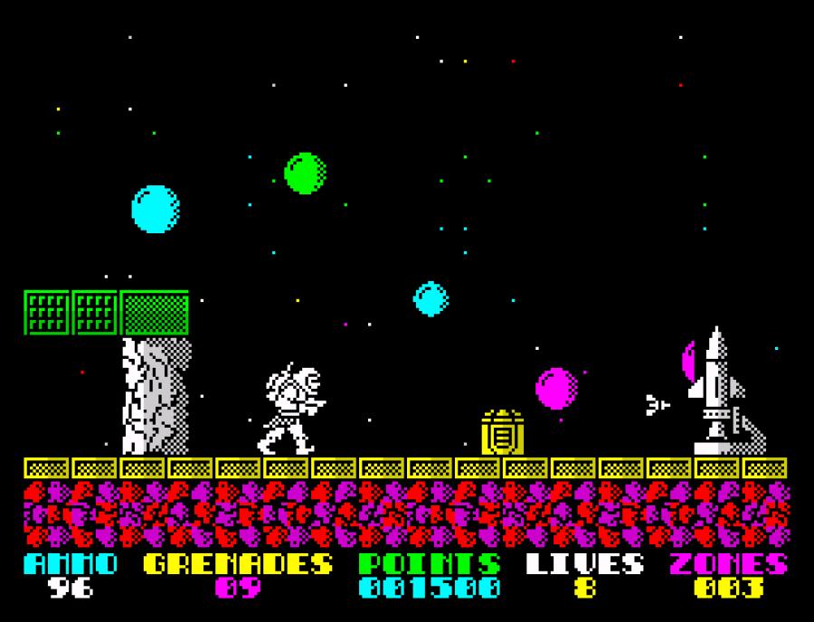A screenshot from Exolon on the ZX Spectrum