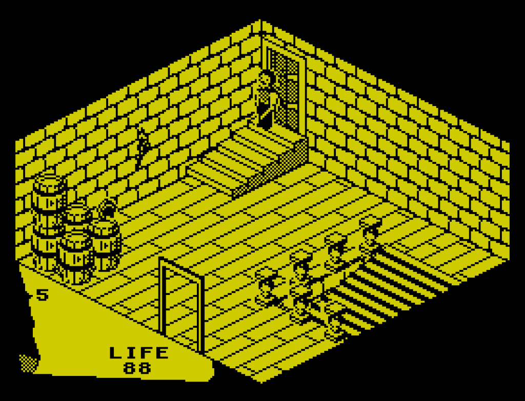 A screenshot from the video game Fairlight on the ZX Spectrum