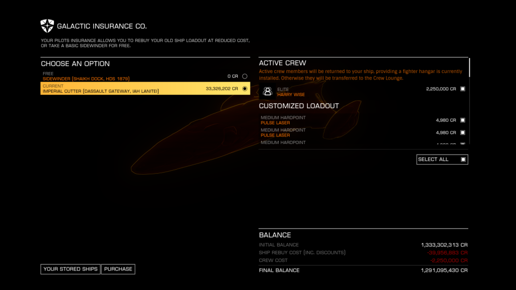 Elite: Dangerous beginner's guide: a screenshot showing how to recover an active crew member from the rebuy screen