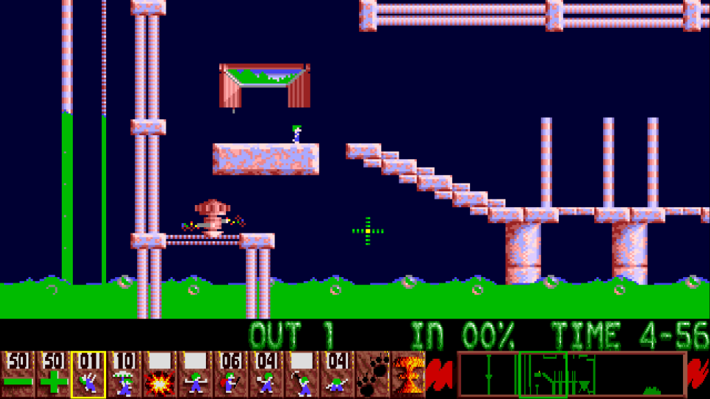 Lemmings (PAL) emulated in WinUAE on a 1920x1080 screen with automatic scaling
