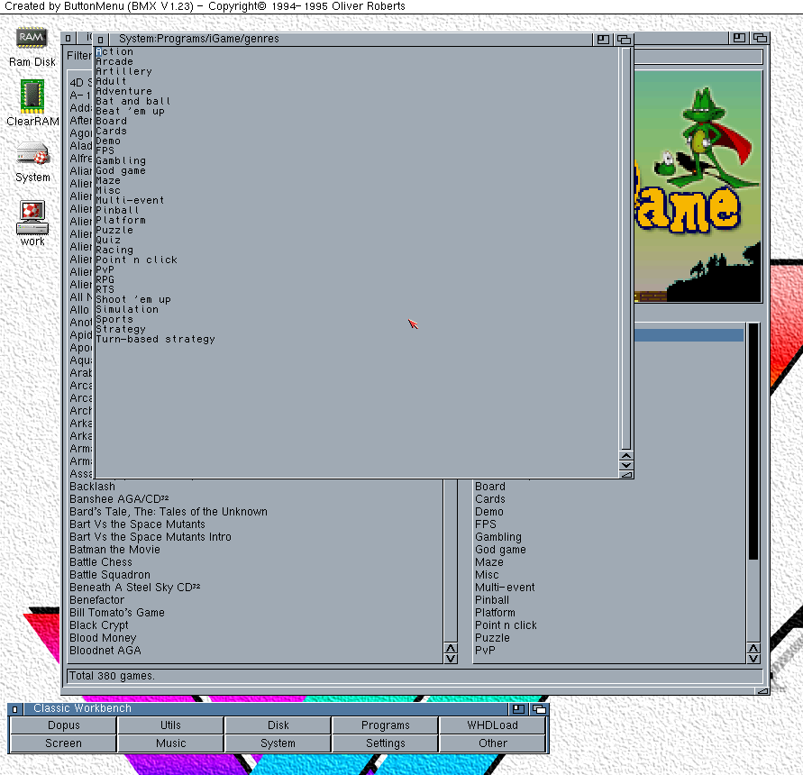 Editing iGame's genre list in an Amiga text editor (JanoEditor)