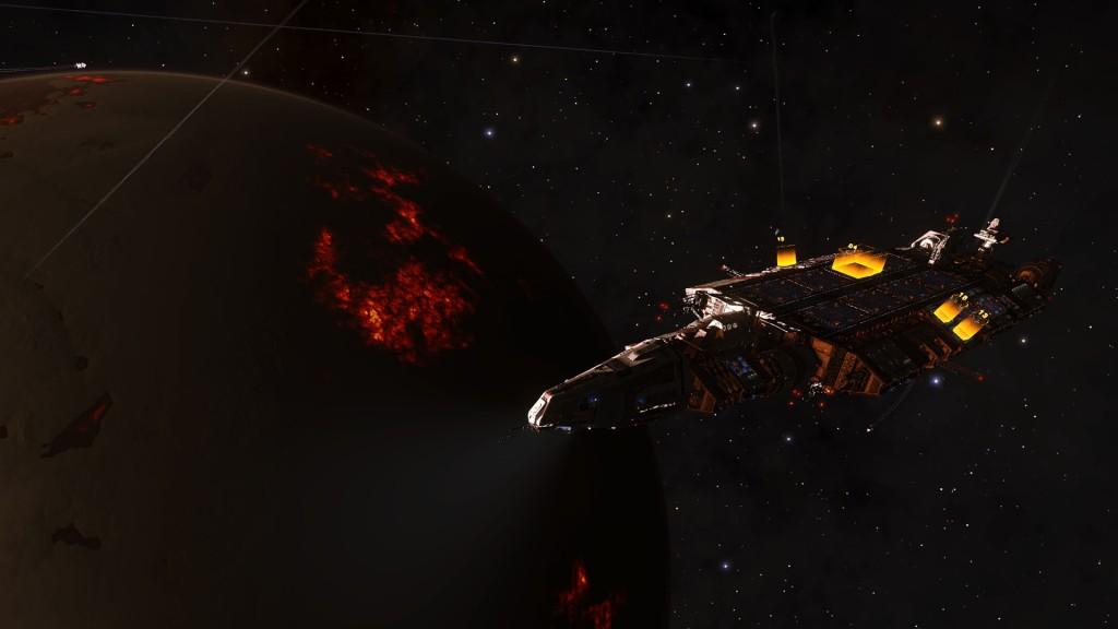 Elite: Dangerous beginner's guide: a screenshot of a fleet carrier in orbit