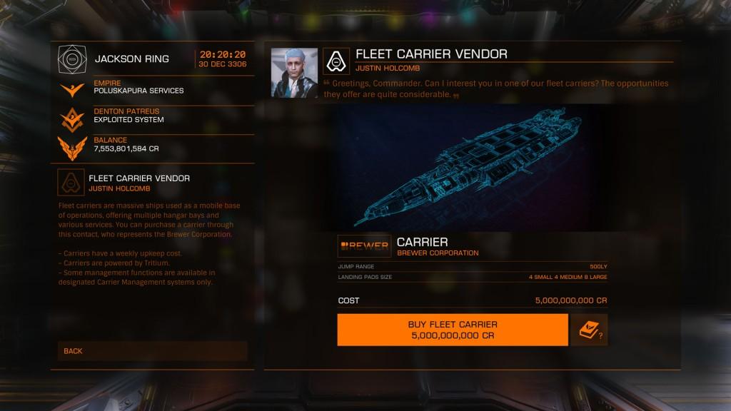 Elite: Dangerous beginner's guide: a screenshot of the fleet carrier vendor